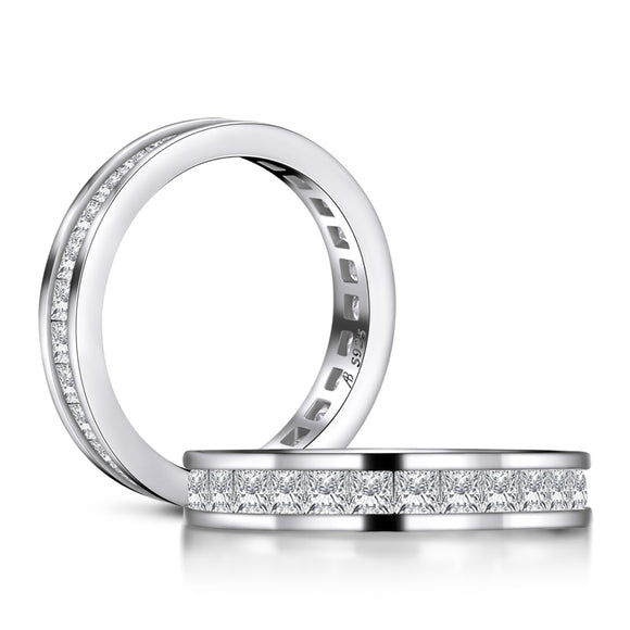 1.50ct Princess Cut Diamond Wedding Band, Full Eternity Ring, 925 Sterling Silver