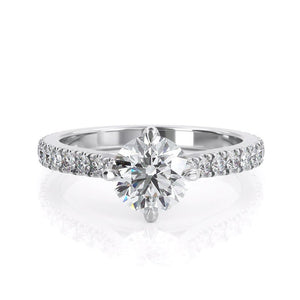 1.00ct Round Cut Moissanite Engagement Ring, 14Kt 585 White Gold