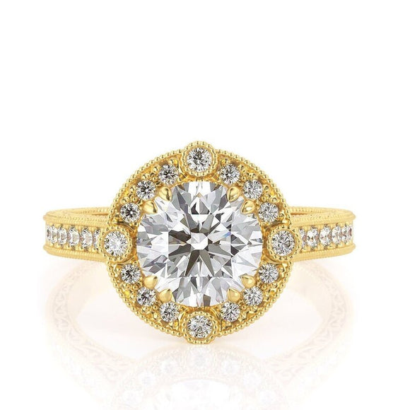 1.50ct Round Cut Moissanite Engagement Ring, Vintage Design, 14Kt 585 Yellow Gold