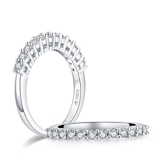 0.50ct Diamond Wedding Band, Half Eternity Ring, 925 Sterling Silver