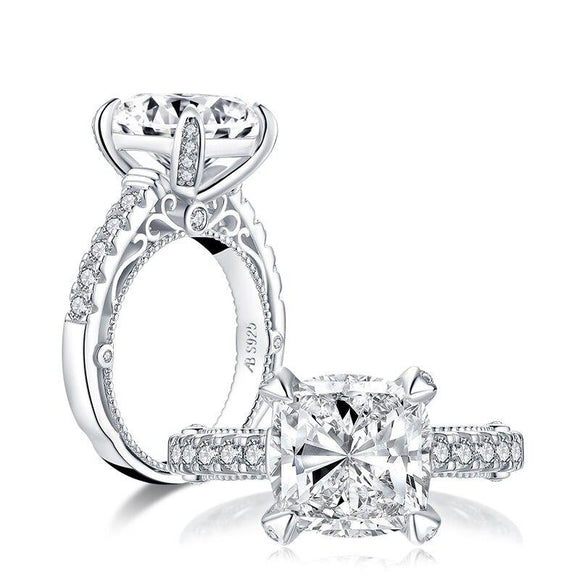 5.00ct Vintage Cushion Cut Diamond Engagement Ring, 925 Silver,