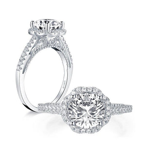 2.00ct Vintage Brilliant Cut, Diamond Halo Engagement Ring, 925 Silver