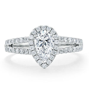 1.60ct Pear Cut Moissanite Engagement Ring, Classic Halo with Split Shank, Available in White Gold, Platinum, Rose Gold or Yellow Gold
