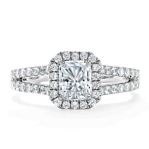 1.60ct Radiant Cut Moissanite Halo Engagement Ring, Classic Style,  Available in White Gold, Platinum, Rose Gold or Yellow Gold
