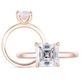 1.50ct Asscher Cut Moissanite Engagement Ring, Classic Design, Available in 14Kt or 18Kt Rose Gold