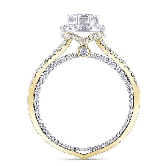 1.00ct Round Cut Moissanite, Vintage Design Engagement Ring, 14Kt 585 White & Yellow Gold