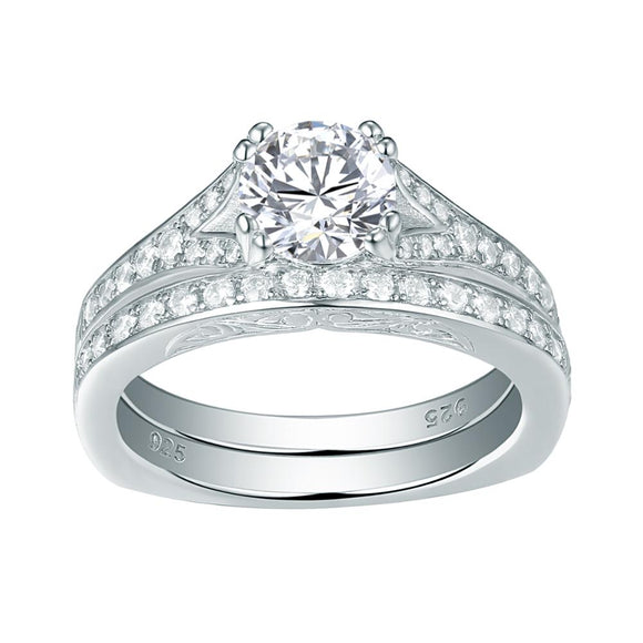1.50ct Round Cut Vintage Ring, Bridal Ring Set, 925 Sterling Silver
