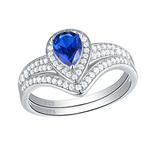 2.00ct Pear Cut Blue Sapphire Ring, Bridal Ring Set, 925 Sterling Silver