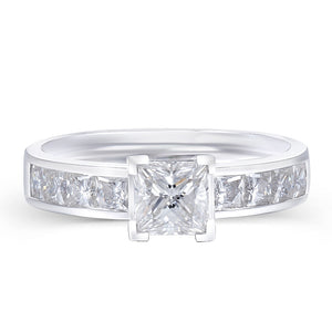 Lab-Diamond Princess Cut, Classic Engagement Ring, Wide Band, Choose Your Stone Size and Metal