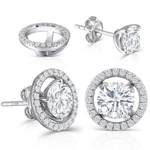 1.00ct each, Round Cut Moissanite Halo Earrings, Removable Halo, 10Kt 585 White Gold