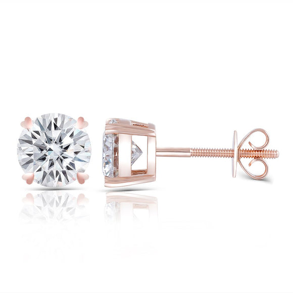 1.00ct each, Moissanite Rose Gold Stud Earrings, Round Cut, 14Kt 585 Rose Gold