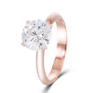 2.50ct Round Cut Moissanite, Classic Engagement Ring, 14Kt 585 Rose Gold