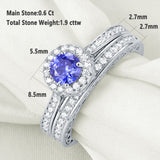 1.75ct Vintage Round Cut Halo Blue Sapphire Ring, Bridal Ring Set, 925 Sterling Silver