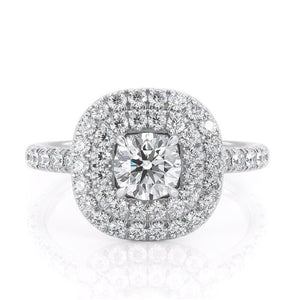 0.50ct Round Cut Moissanite Engagement Ring, Double Halo, 14Kt 585 White Gold