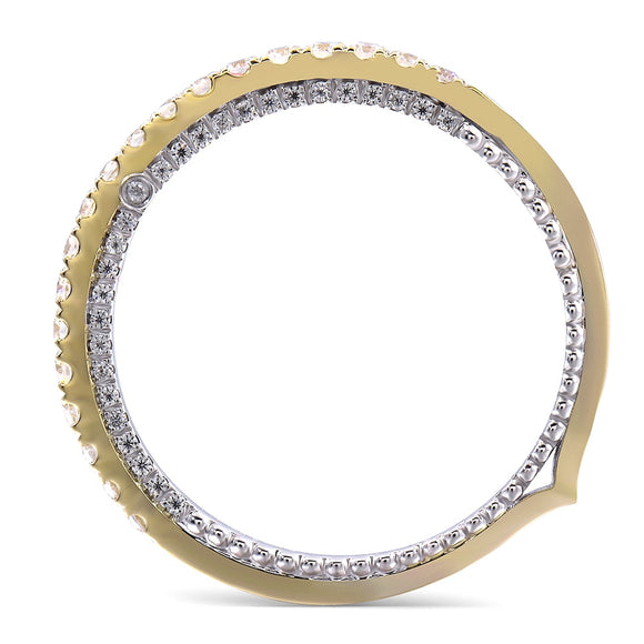 0.50ct Moissanite Wedding Band, Vintage Design Half Eternity Ring, 14Kt 585 White & Yellow Gold