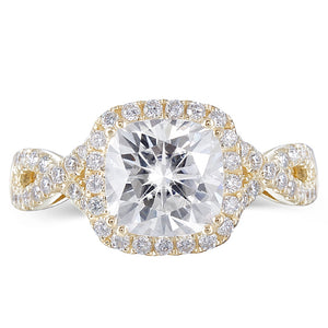 2.00ct Cushion Cut Moissanite, Twist Design Halo Engagement Ring, 14Kt 585 Yellow Gold