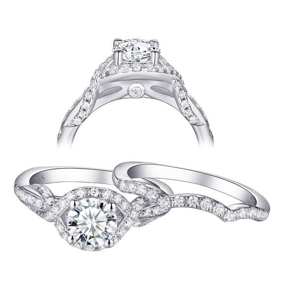 1.70ct Round Cut Twist Engagement Ring, Bridal Ring Set, 925 Sterling Silver