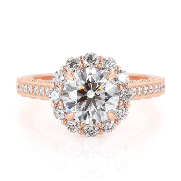 1.00ct Round Cut Moissanite Engagement Ring, Vintage Halo Design, 14Kt 585 Rose Gold