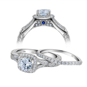 1.20ct Vintage Round Cut Diamond Ring Set, 925 Sterling Silver