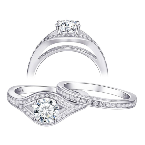 1.60ct Vintage Round Cut Halo Diamond Ring, Bridal Ring Set, 925 Sterling Silver