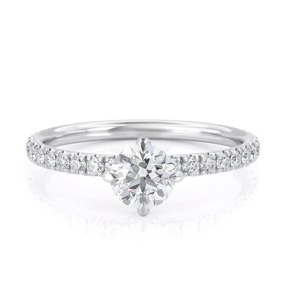 0.80ct Round Cut Moissanite Engagement Ring, 14Kt 585 White Gold
