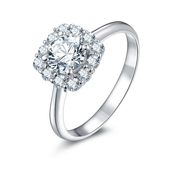 0.85ct Round Cut, Halo Diamond Engagement Ring, 925 Silver