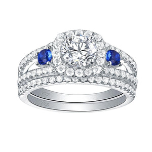 1.50ct Round Cut 3 Stone Diamond & Sapphire Ring Set, Bridal Rings, 925 Sterling Silver