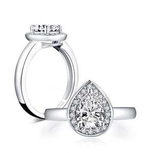 1.75ct Pear Cut Diamond Halo Engagement Ring, Vintage Design, 925 Silver