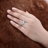 5.00ct Cushion Cut, Diamond Halo Engagement Ring, 925 Silver