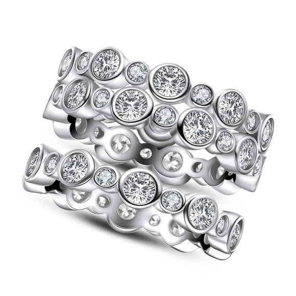 1.50ct Each Diamond Wedding Band, Full Eternity Ring, 925 Sterling Silver