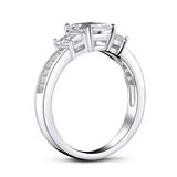 1.00ct Vintage Emerald Cut Diamond 3 stone Engagement Ring, 925 Silver