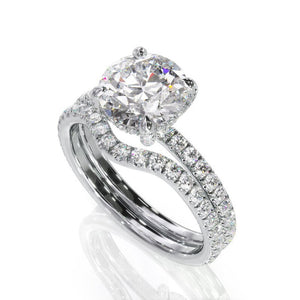 1.00ct Round Cut Moissanite Engagement Ring & Wedding Band Set, 14Kt 585 White Gold