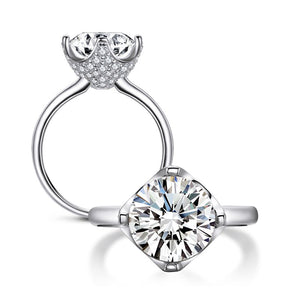 3.50ct Round Cut Diamond Engagement Ring, 925 Silver