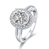 3.00ct Oval Cut Diamond Halo Engagement Ring, 925 Silver