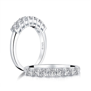 0.75ct Round Cut Diamond Wedding Band, Half Eternity Ring, 925 Sterling Silver