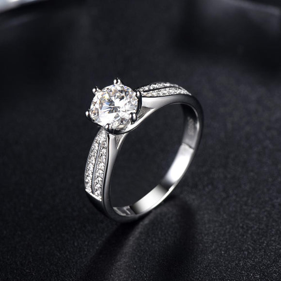1.00ct Moissanite Engagement Ring, Shoulder Set Double Row, Sterling Silver & Platinum
