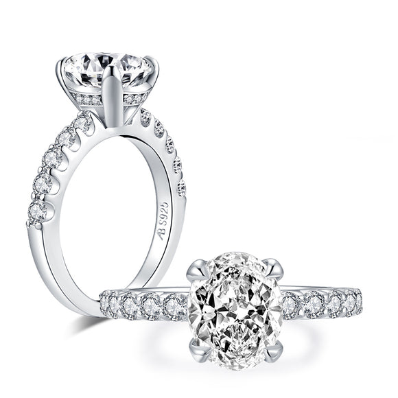 3.00ct Oval Cut Diamond Engagement Ring, 925 Silver