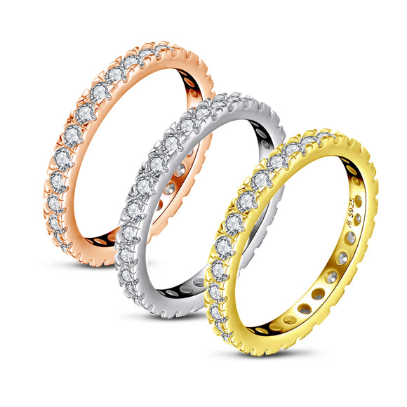 2.40ct x3 Diamond Wedding Bands, Full Eternity Rings, 925 Sterling Silver, Rose & Yellow