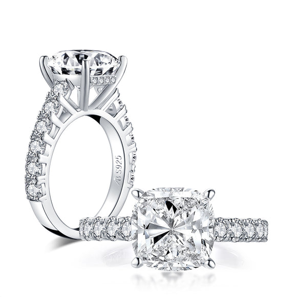 5.00ct Round Brilliant Cut Diamond Engagement Ring, 925 Silver