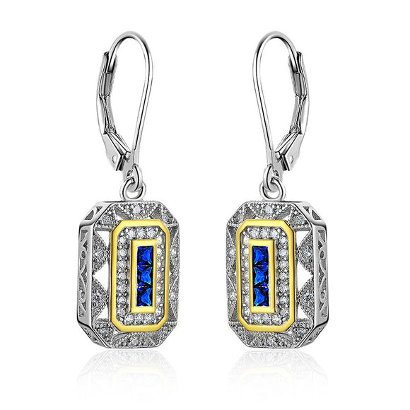 0.30ct each, Art Deco Style Drop Earrings, Sapphire and Diamond, 925 Sterling Silver