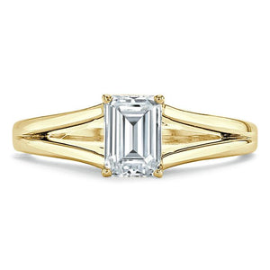 1.00ct  Emerald Cut Moissanite Engagement Ring, Tiffany Style Split Shank,  Available in White Gold, Platinum, Rose Gold or Yellow Gold