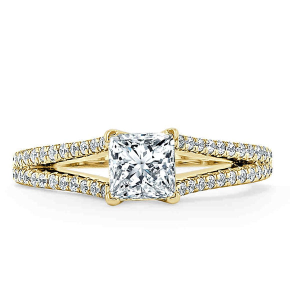 1.35ct  Princess Cut Moissanite Engagement Ring, Split Shank,  Available in White Gold, Platinum, Rose Gold or Yellow Gold