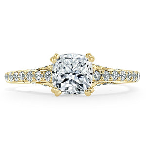 Lab-Diamond Cushion Cut Engagement Ring, Tiffany Style, Choose Your Stone Size and Metal