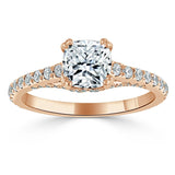 1.40ct  Cushion Cut Moissanite Engagement Ring, Tiffany Style,  Available in White Gold, Platinum, Rose Gold or Yellow Gold
