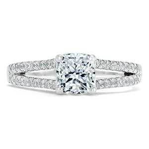 Lab-Diamond Cushion Cut Engagement Ring, Split Shank,Choose Your Stone Size and Metal