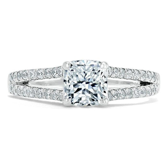 1.35ct  Cushion Cut Moissanite Engagement Ring, Split Shank,  Available in White Gold, Platinum, Rose Gold or Yellow Gold