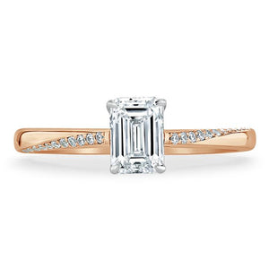 1.00ct  Emerald Cut Moissanite Engagement Ring, Classic Style,  Available in White Gold, Platinum, Rose Gold or Yellow Gold