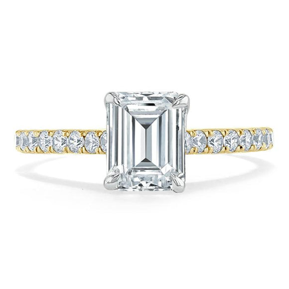 Lab-Diamond Emerald Cut Engagement Ring, Classic Style, Choose Your Stone Size and Metal