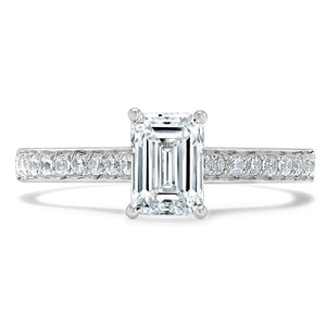 1.20ct  Emerald Cut Moissanite Engagement Ring, Classic Style,  Available in White Gold, Platinum, Rose Gold or Yellow Gold