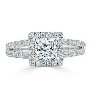 1.60ct  Princess Cut Moissanite Engagement Ring, Classic Halo with Split Shank,  Available in White Gold, Platinum, Rose Gold or Yellow Gold